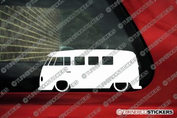 2x Low car outline stickers - for Volkswagen VW T1 split window , 11 window classic camper bus